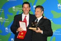 Rodrigo Prieto and Ang Lee at the Leone d'Oro del 75th closing ceremony during the 64th Venice Film Festival.