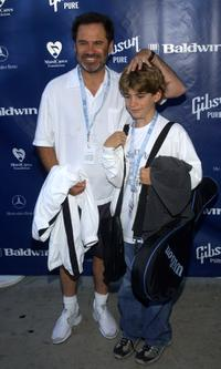 Dennis Miller and his son Holden at the Mercedes Benz Cup pro-celebrity tennis match.