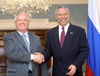 Mikhail Gorbachev and Colin Powell at the Harry S. Truman State Department in Washington.
