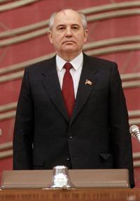 Mikhail Gorbachev at the rostrum of the Congress of Deputies.