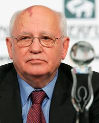 Mikhail Gorbachev at the press conference prior to the Women's World Awards.