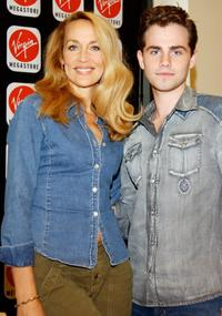 Jerry Hall and Rider Strong at the San Francisco Virgin Megastore.