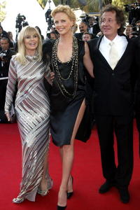Britt Ekland, Charlize Theron and Geoffrey Rush at the screening of