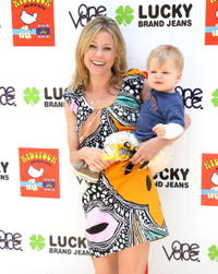 Julie Bowen and her son at the Second Annual Kidstock Music and Art Festival.