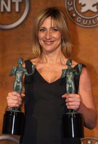 Edie Falco in the press room at the 14th Screen Actors Guild Awards.