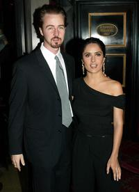Edward Norton and Salma Hayek at the premiere of