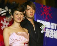 Charlie Young and Vanness Wu at the Christmas decoration lighting ceremony.