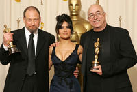 Michael Silvers, Salma Hayek and Randy Thom at the 77th Annual Academy Awards.