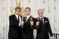 Rick Carter, Robert Stromberg and Kim Sinclair at the 82nd Annual Academy Awards.
