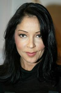Apollonia Kotero at the Custo Barcelona Collection Spring 2005 show during the Mercedes-Benz Fashion Week.