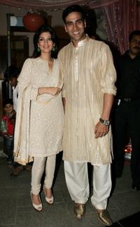 Twinkle Khanna and Akshay Kumar at the wedding reception for Rashi Agarwal and Hemant Bhanadari in Mumbai.