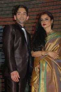 Luv Sinha and Rekha at the premiere of