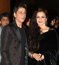 Shah Rukh Khan and Rekha at the soiree held by Reliance Group of Industry in Mumbai.