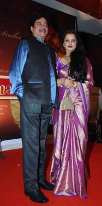 Shatrughan Sinha and Rekha at the party honoring Shatrughan Sinha's election to the national parliament.