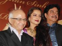 Ramesh Talwar, Rekha and Shatrughan Sinha at the party honoring Shatrughan Sinha's election to the national parliament.
