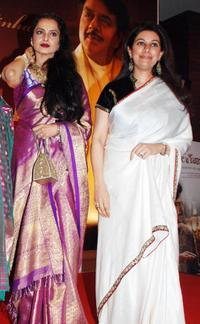 Rekha and Kamia Malhotra at the party honoring Shatrughan Sinha's election to the national parliament.