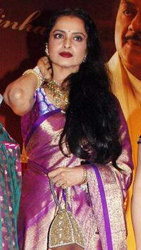 Rekha at the party honoring Shatrughan Sinha's election to the national parliament.