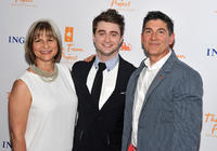 Trevor Project co-founder Peggy Rajski, Daniel Radcliffe and James Lecesne at the Trevor Live: An Evening Benefiting The Trevor Project in New York.