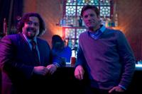 Dan Fogler and Aaron Eckhart in