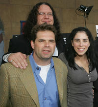 Dana Gould, Penn Jillette and Sarah Silverman at the California premiere of