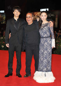 Hidetoshi Nishijima, director Amir Naderi and Takako Tokiwa at the premiere of