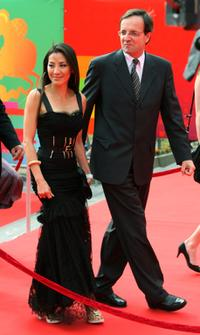 Michelle Yeoh and Georges Chichmanov of LOreal at the closing ceremony of International Moscow Film Festival.