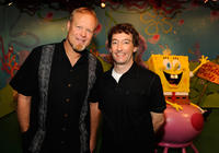 Bill Fagerbakke and Tom Kenny at the Madame Tussauds in New York.