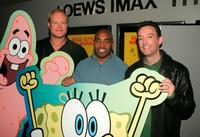 Bill Fagerbakke, Tiki Barber and Tom Kenny at the premiere of