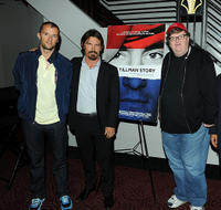 John Battsek, Josh Brolin and Michael Moore at the special screening of