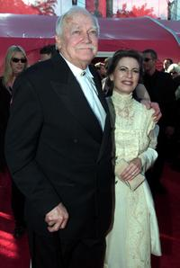 Richard Farnsworth and girlfriend Jewel Van Balin at the Shrine Auditorium for the Academy Awards.