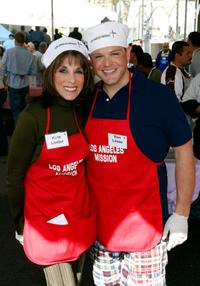 Kate Linder and Ron Lester at the Los Angeles Mission's Easter meal for the homeless.
