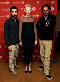 Edoardo Gabbriellini, Tilda Swinton and Luca Guadagnino at the premiere of