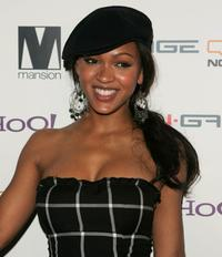 Meagan Good at the party of photographer David LaChapelle.