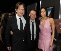 Producer Christian Colson, Simon Beaufoy and executive producer Lisa Maria Falcone at the premiere of