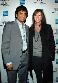 M. Night Shyamalan and Tribeca Film Festival founder Jane Rosenthal at the Tribeca Film Festival.