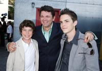 Graham Phillips, John Michael Higgins and Johnny Simmons at the premiere of