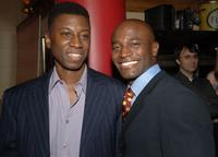 Teagle F. Bougere and Taye Diggs at the after-party of the off-Broadway opening of