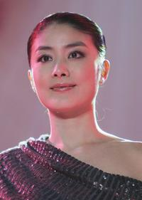 Kelly Chen at the press conference to promote some real estate.