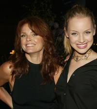 Dina Meyer and Rachel Skarsten at the WB Television Network's 2002 Summer party.