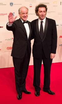 Toni Servillo and director Matteo Garrone at the European Film Awards.