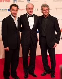 Director Matteo Garrone, Toni Servillo and Dominico Procacci at the European Film Awards.