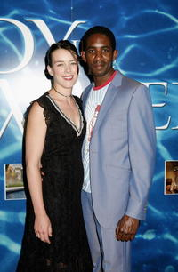 Olivia Williams and her husband Rhashan at the premiere of