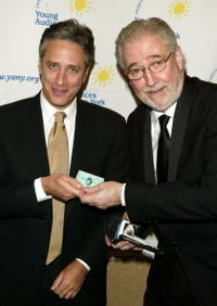 Jon Stewart and Comedy Central President Larry Divney at the 2004 Children's Arts Medal Benefit Gala.