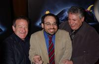 Robin Williams, Danny Woodburn and Harvey Fierstein at the premiere of