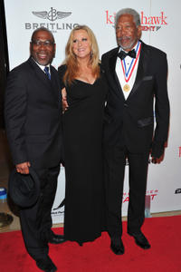 Alfonso Freeman, producer Lori McCreary and Morgan Freeman at the 9th Annual Living Legends of Aviation Awards.