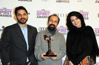 Peyman Maadi, director Asghar Farhadi and Leila Hatami at the 2012 Film Independent Spirit Awards in California.