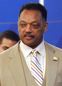 Jesse Jackson at the press conference at Presidential Palace