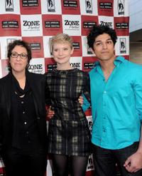 Lisa Cholodenko, Mia Wasikowska and Kunal Sharma at the premiere of