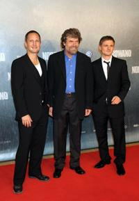 Benno Fuermann, Reinhold Messner and Florian Lukas at the premiere of