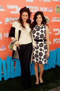 Joely Fisher and her sister Tricia Leigh Fisher at the launch party of kidsLA Magazine.